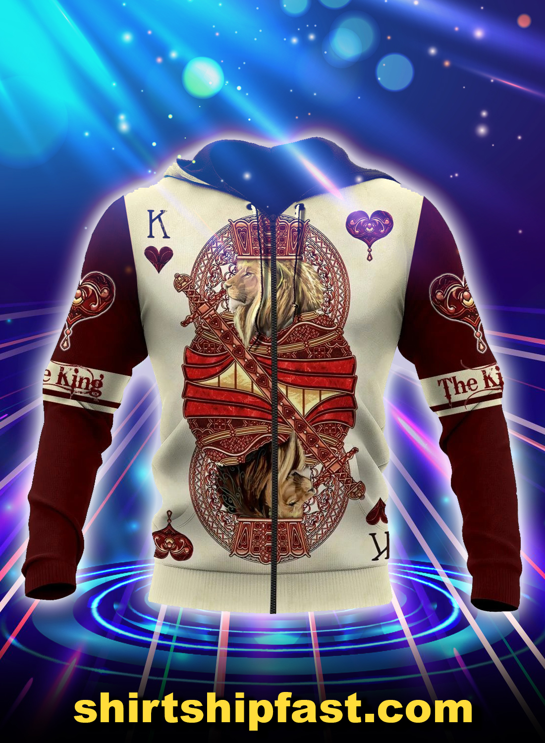 King hearts lion poker all over printed 3d zip hoodie