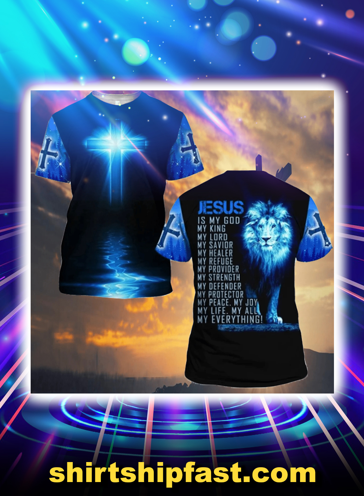 Lion jesus is my god my everything all over printed 3d t-shirt