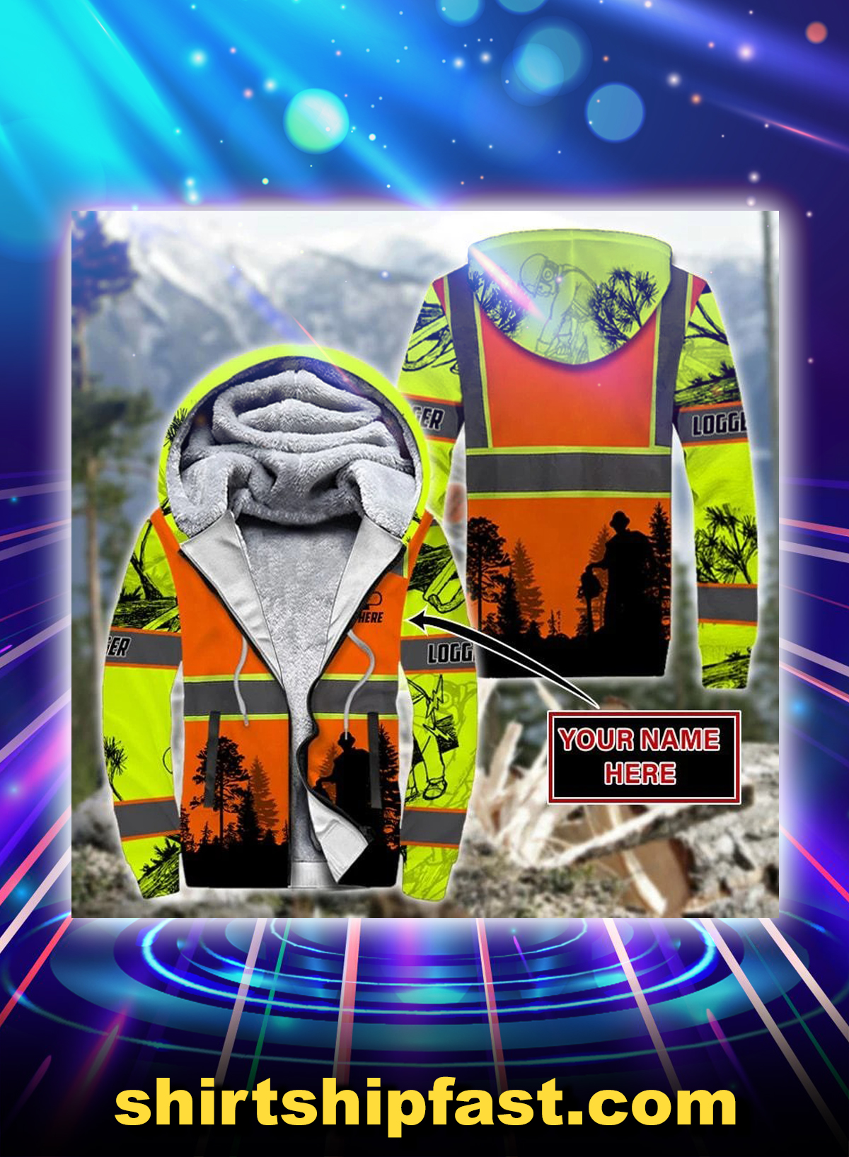 Logger safety personalized customize 3d fleece hoodie