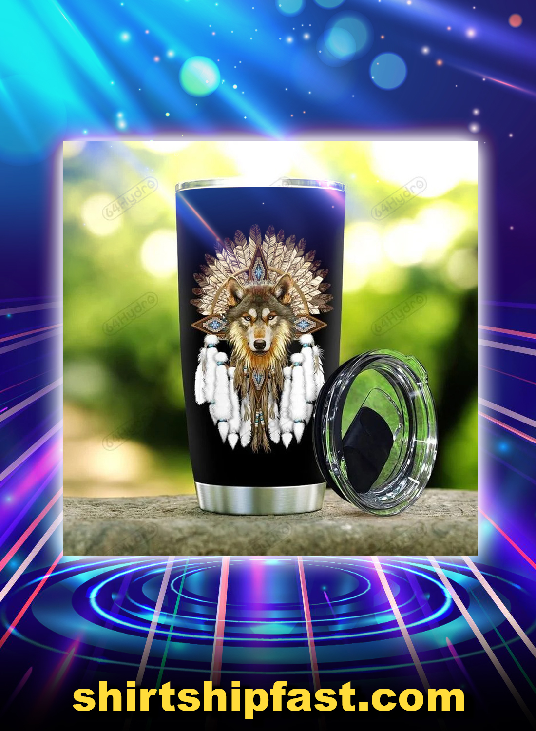 Native wolf dreamcatcher listen to the wind tumbler - Picture 1