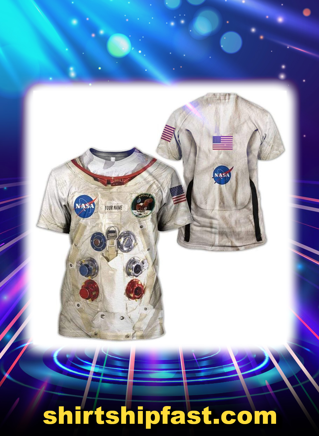 Neil armstrong space suit personalized custom name 3d t-shirt
