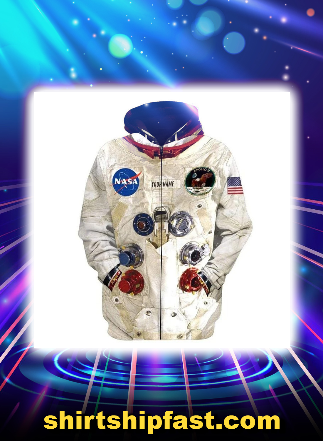 Neil armstrong space suit personalized custom name 3d zip hoodie