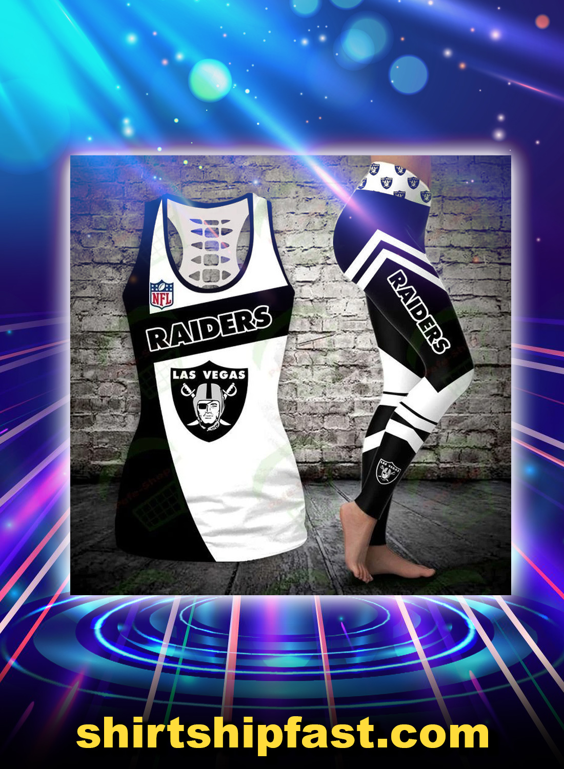 Oakland raiders legging and hollow tank top - Picture 1