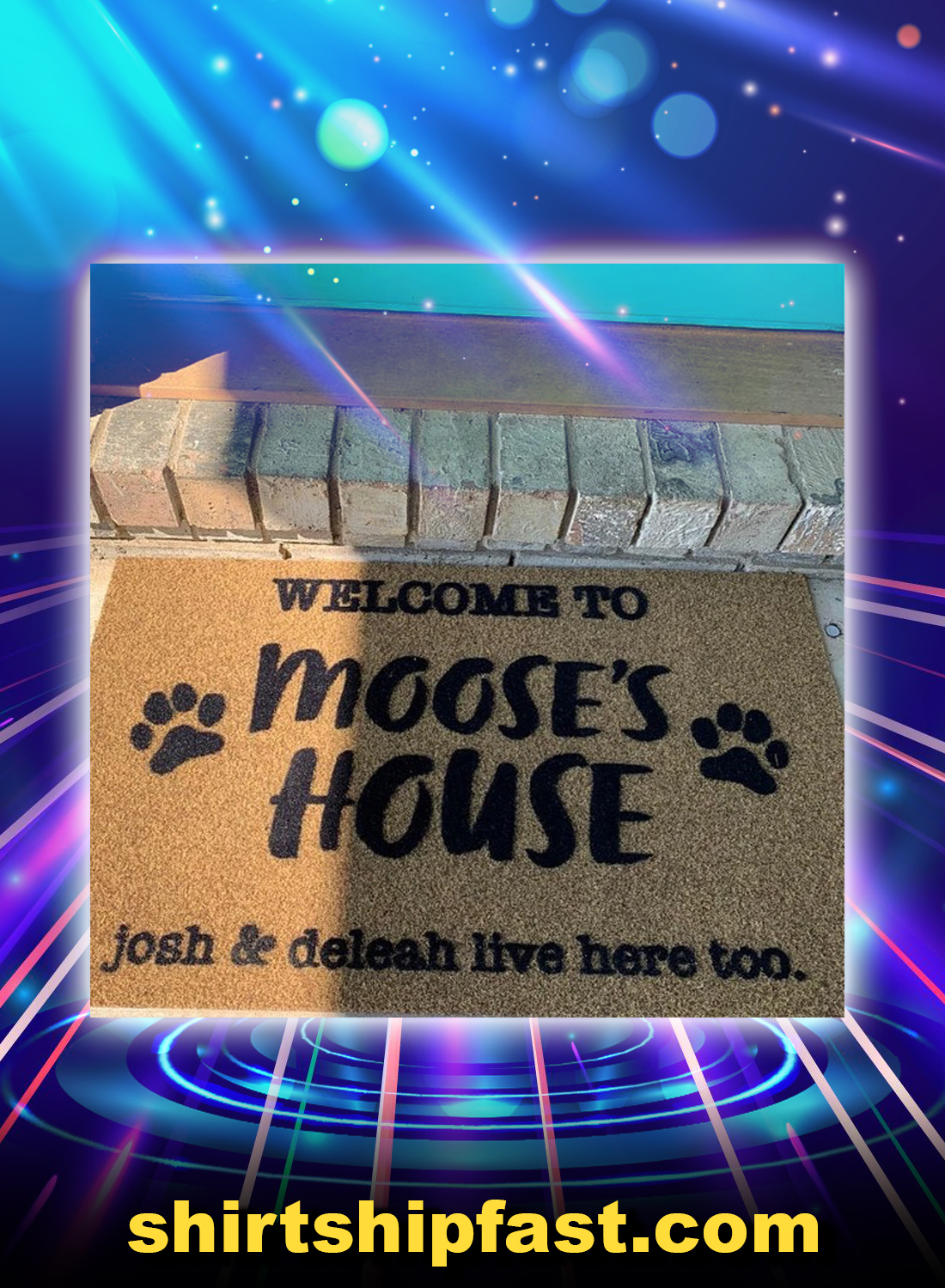 Personalized custom name welcome to dogs house doormat - Picture 1
