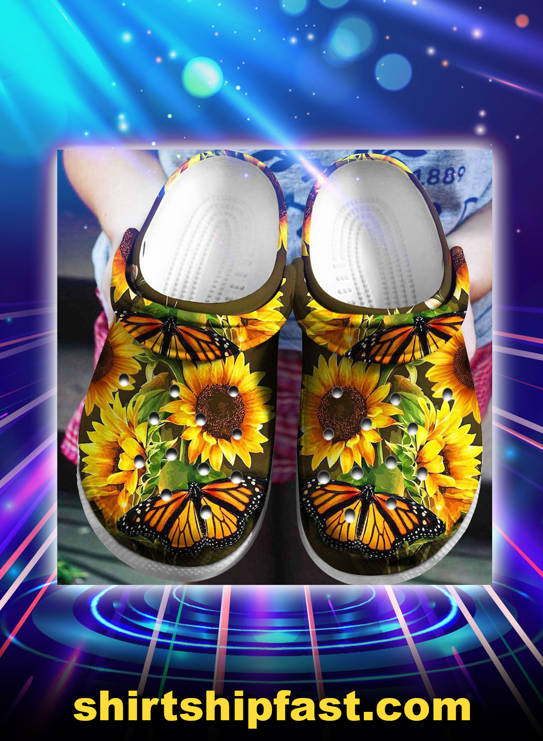 SUNFLOWER BUTTERFLY crocband crocs shoes - Picture 1