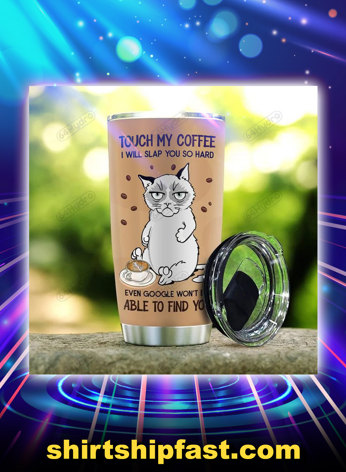 Siamese cat touch my coffee i will slap you so hard personalized custom name tumbler - Picture 2