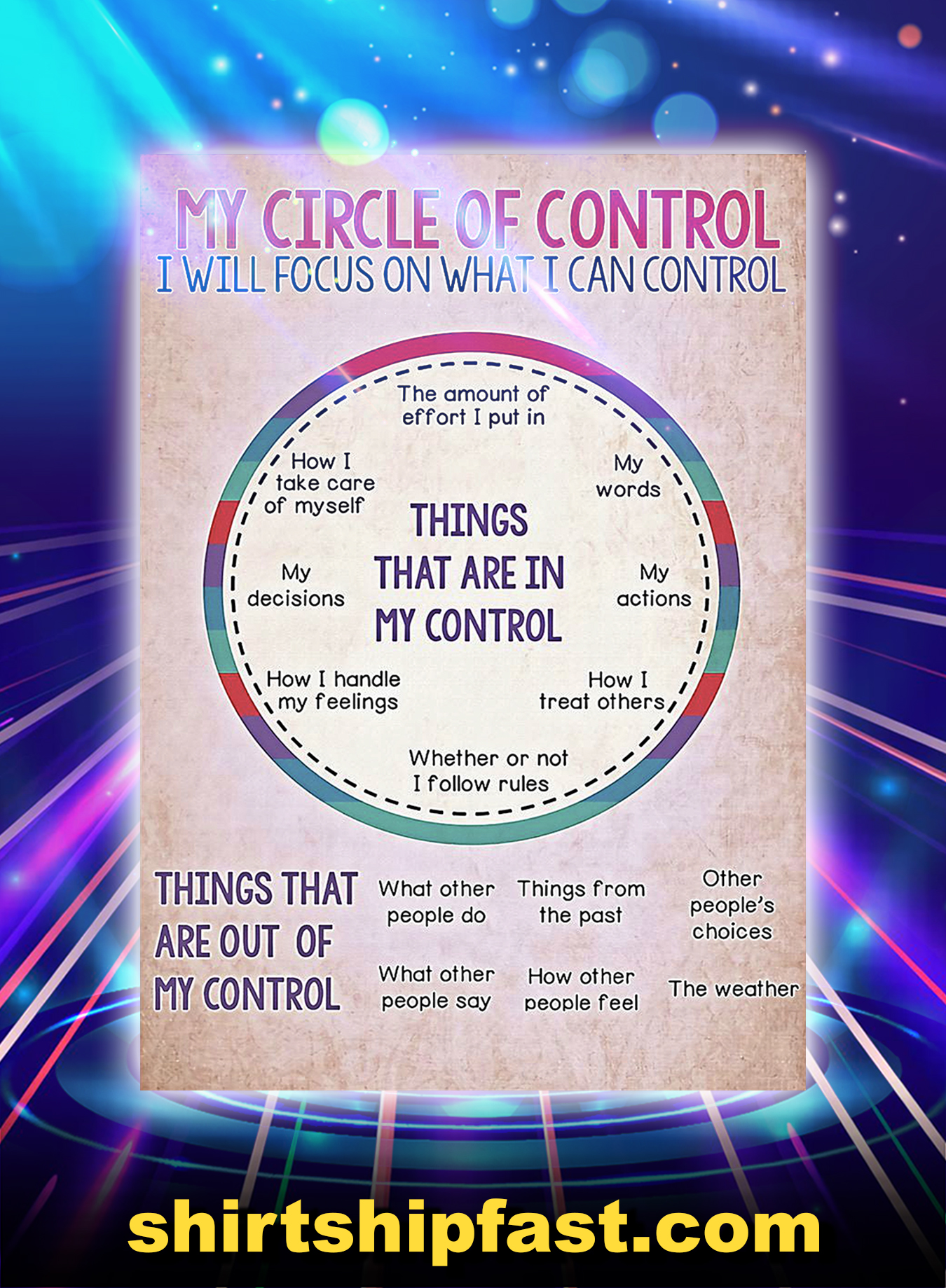 Social worker my circle of control poster - A2