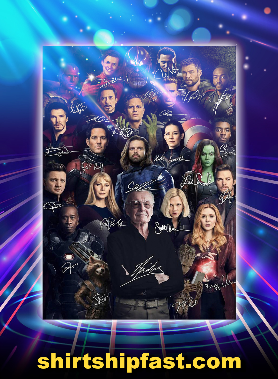 Stan lee avengers signature poster - A3
