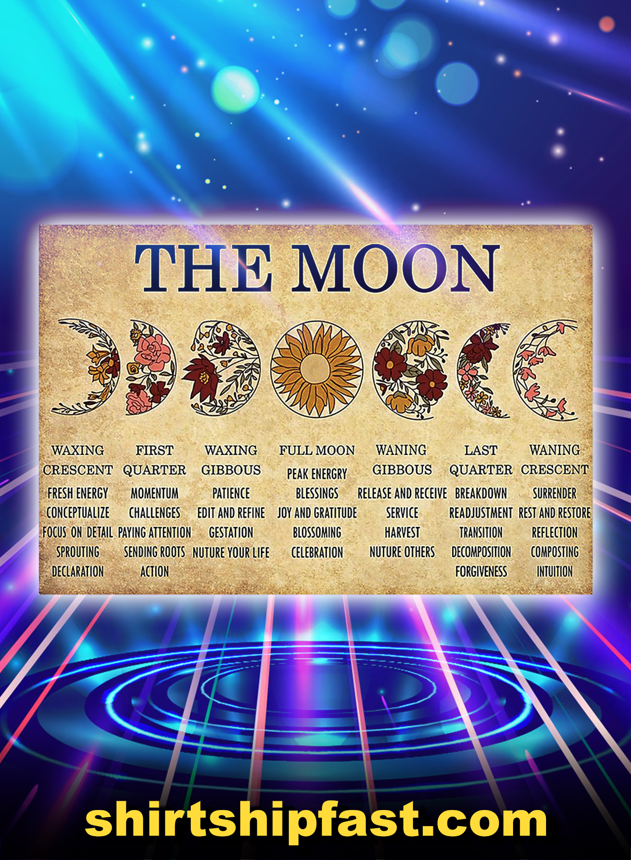 The moon waxing crescent first quarter poster - A4