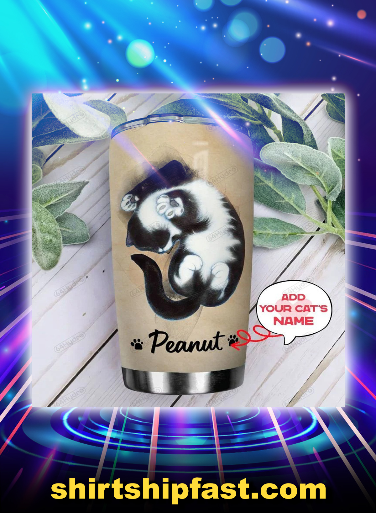 Tuxedo cat i am your friend personalized custom name tumbler - Picture 1