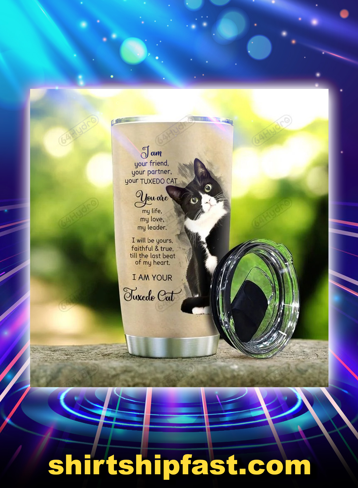 Tuxedo cat i am your friend personalized custom name tumbler - Picture 2