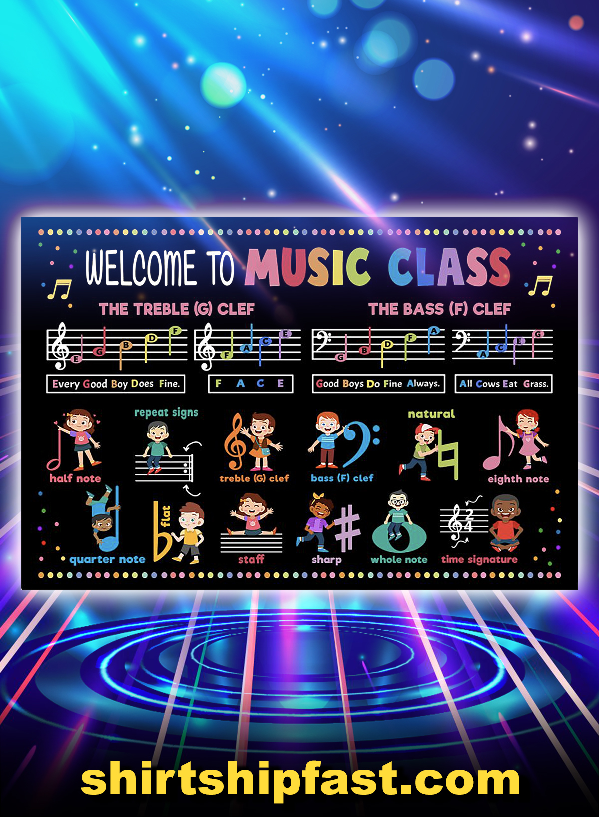 Welcome to music class poster - A4