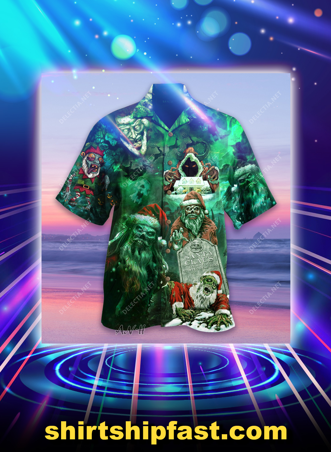 Zombie santa claus because you stopped believing unisex hawaiian shirt - Picture 1