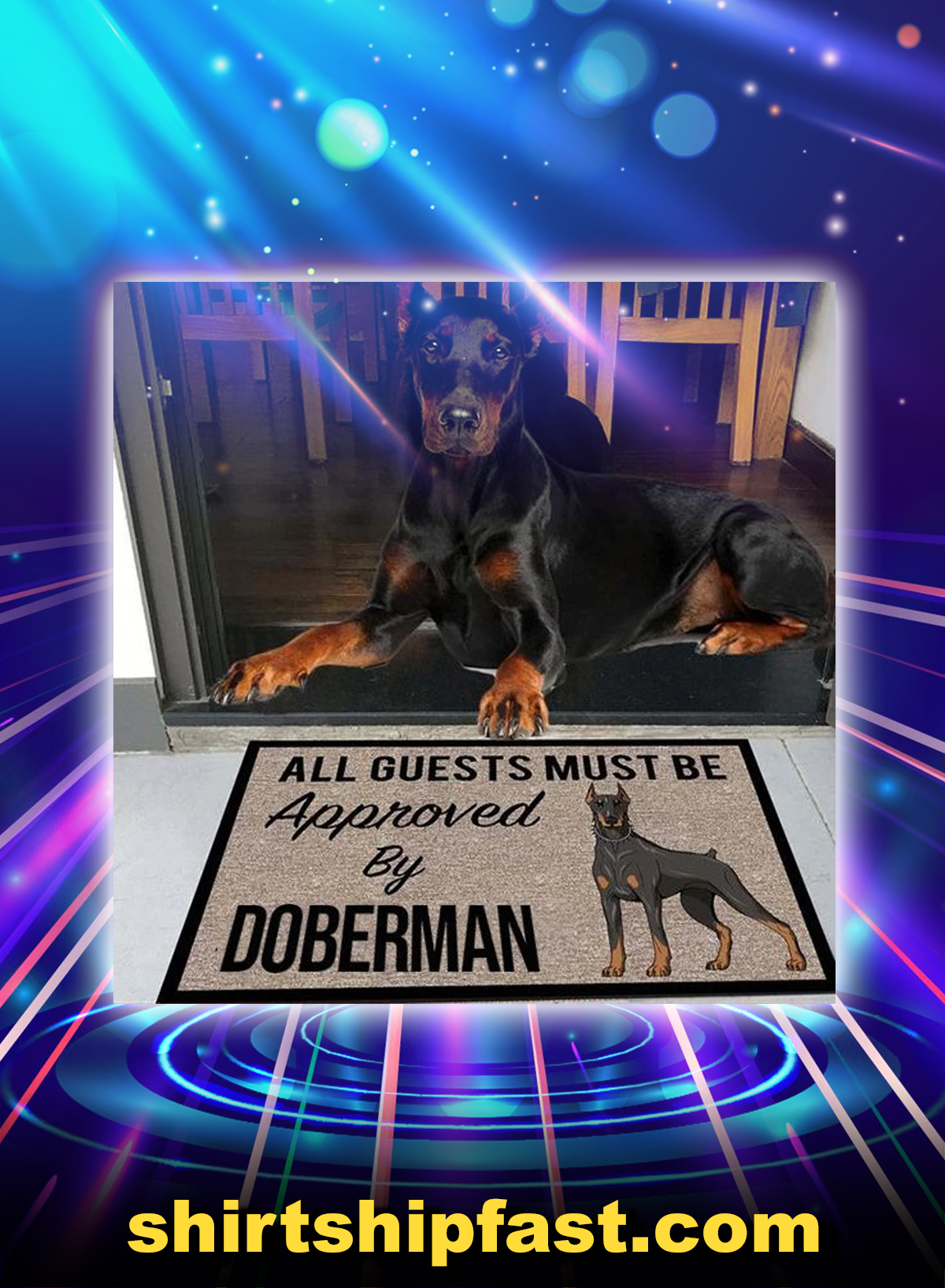All guests must be approved by doberman doormat - Picture 1