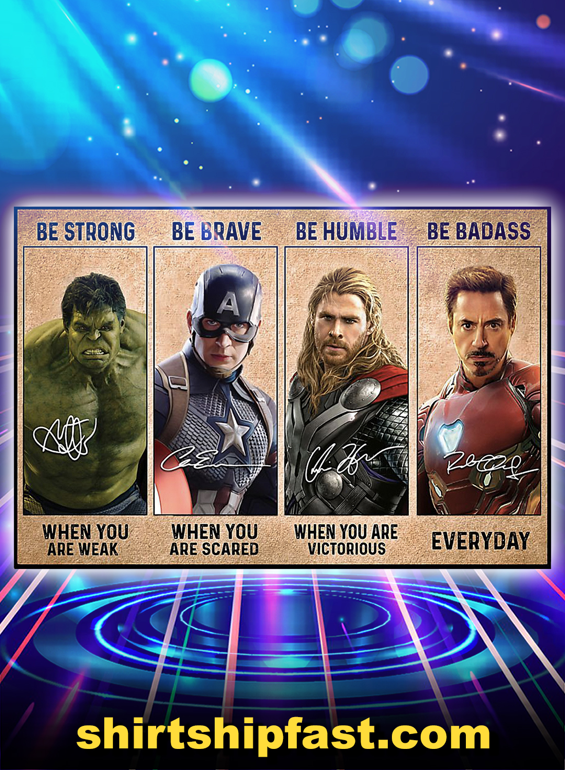 Be strong be brave be humble be badass avengers poster