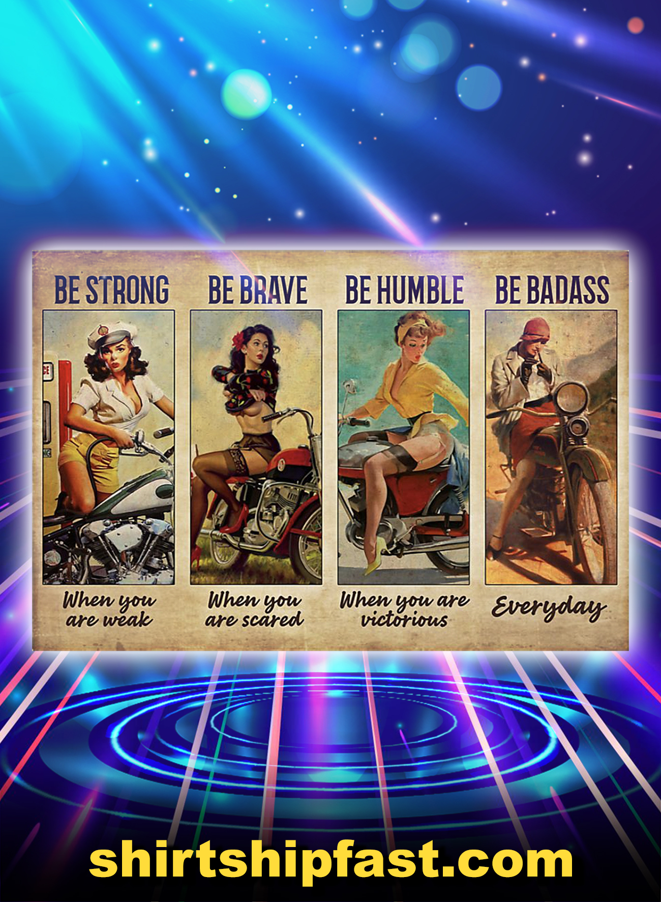 Be strong be brave be humble be badass biker girl poster - A1
