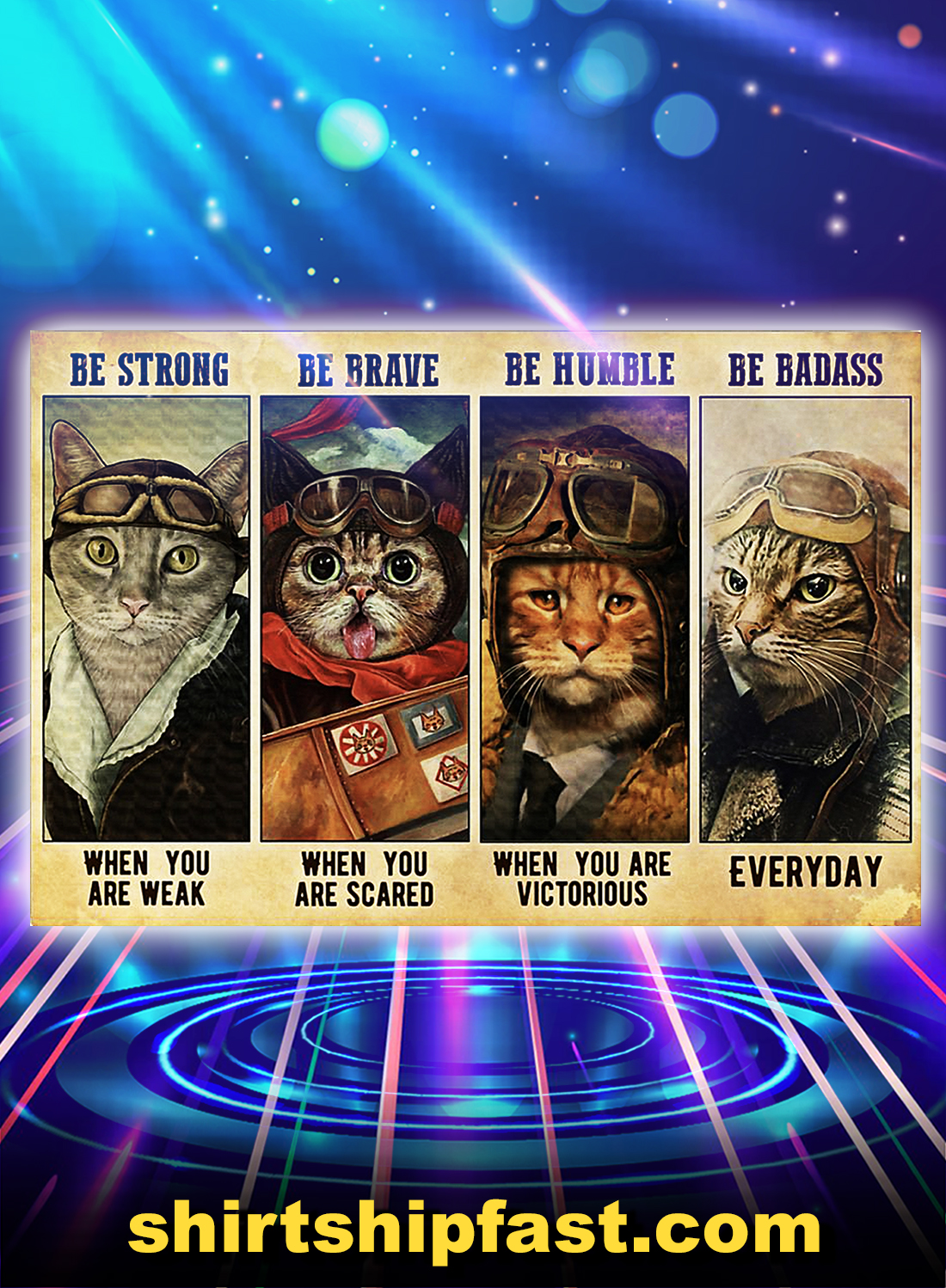 Be strong be brave be humble be badass cat pilot poster