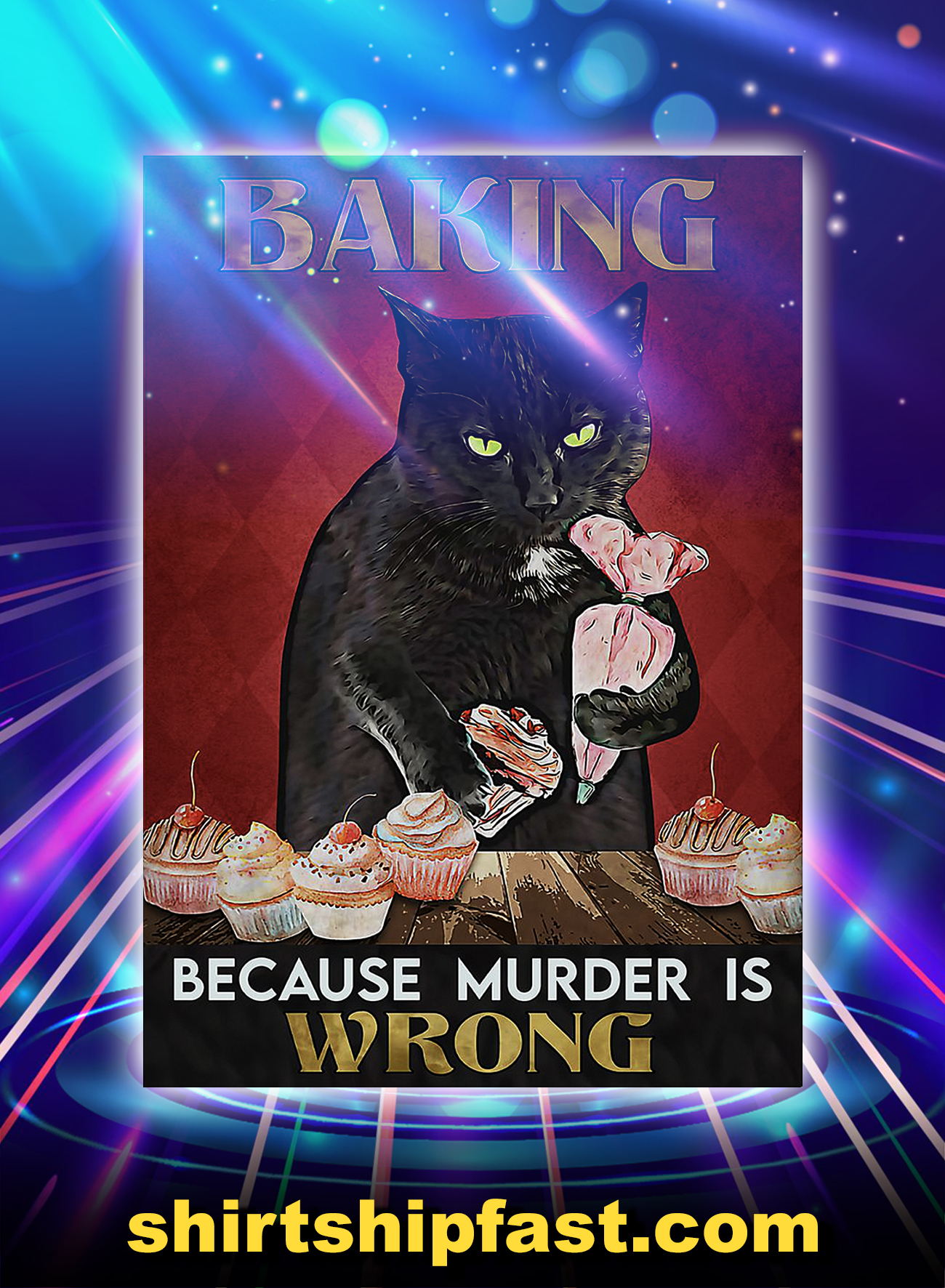 Black cat barking because murder is wrong poster - A4