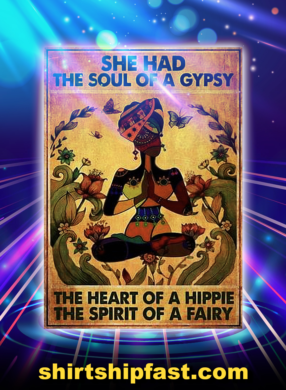 Black girl yoga she had the soul of a gypsy poster - A4