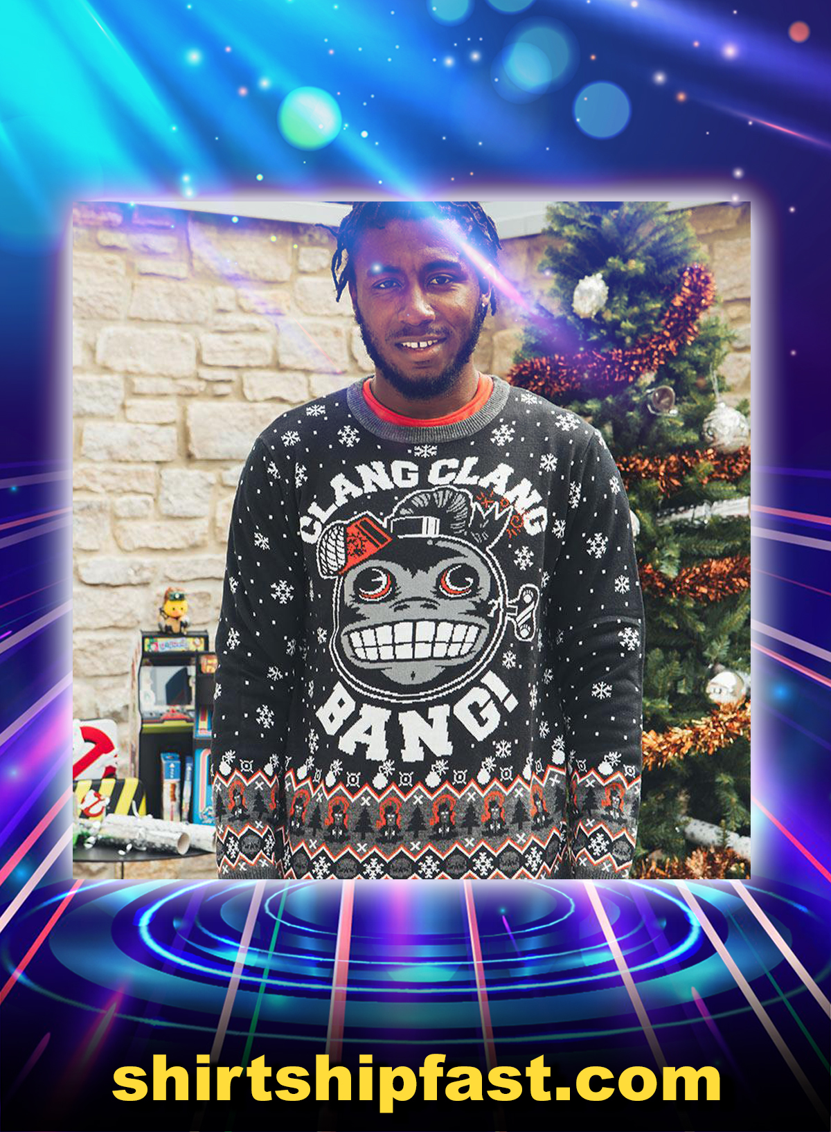 Call of duty monkey bomb clang clang bang ugly christmas sweater and jumper - Picture 1
