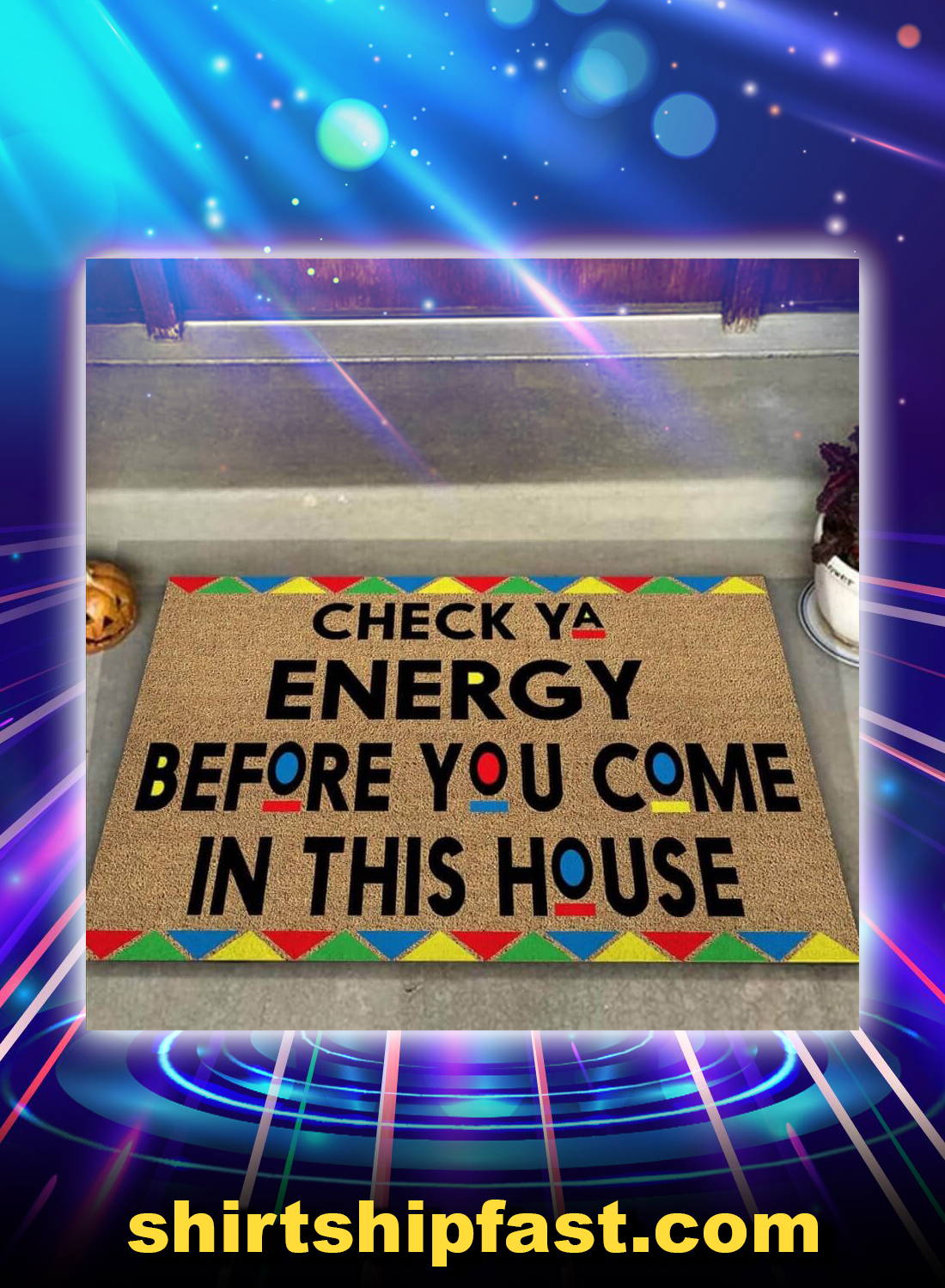 Check ya energy african american pattern doormat - Picture 1