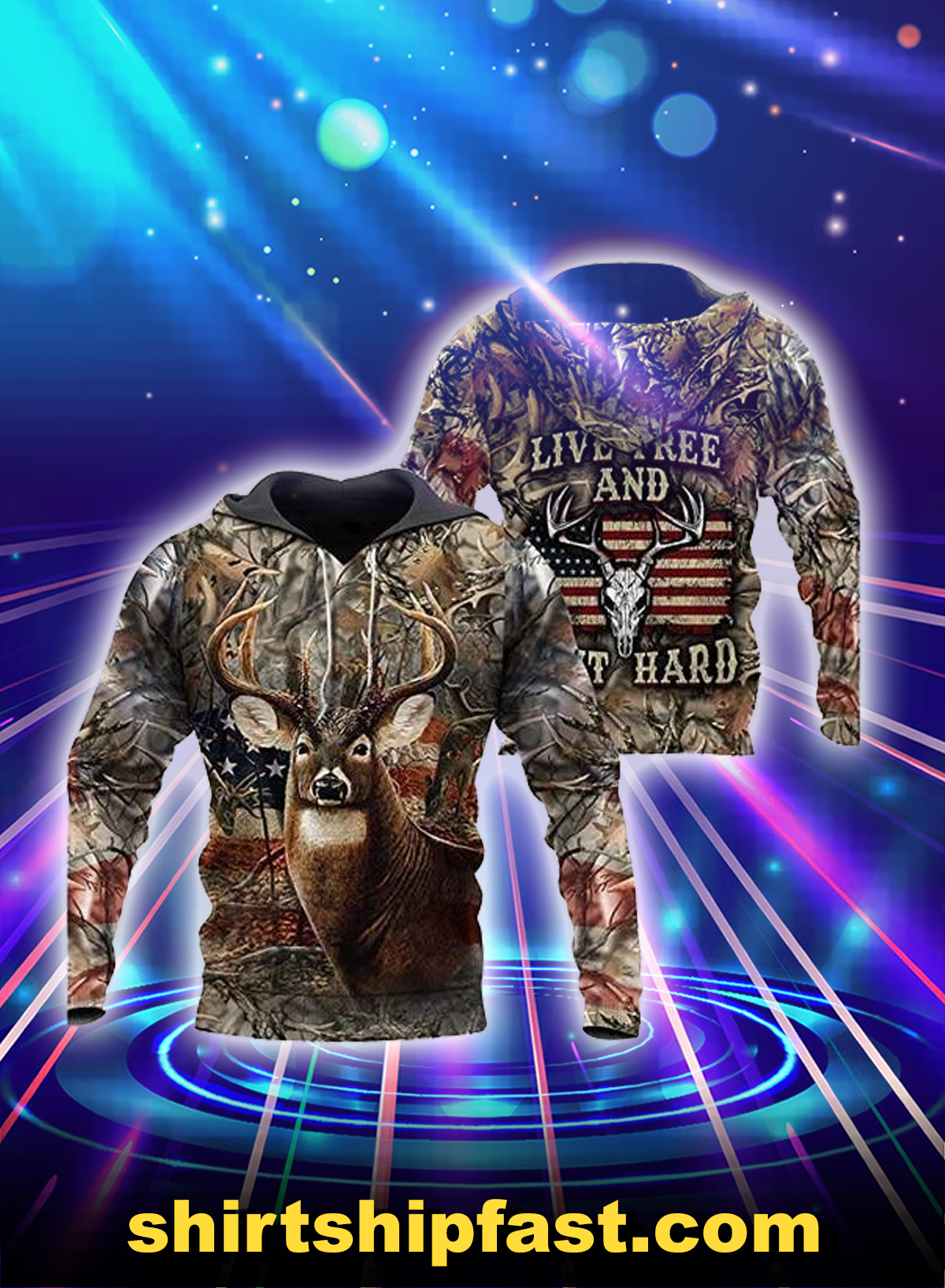 Deer hunting american flag live free and hunt hard 3d hoodie - Picture 1