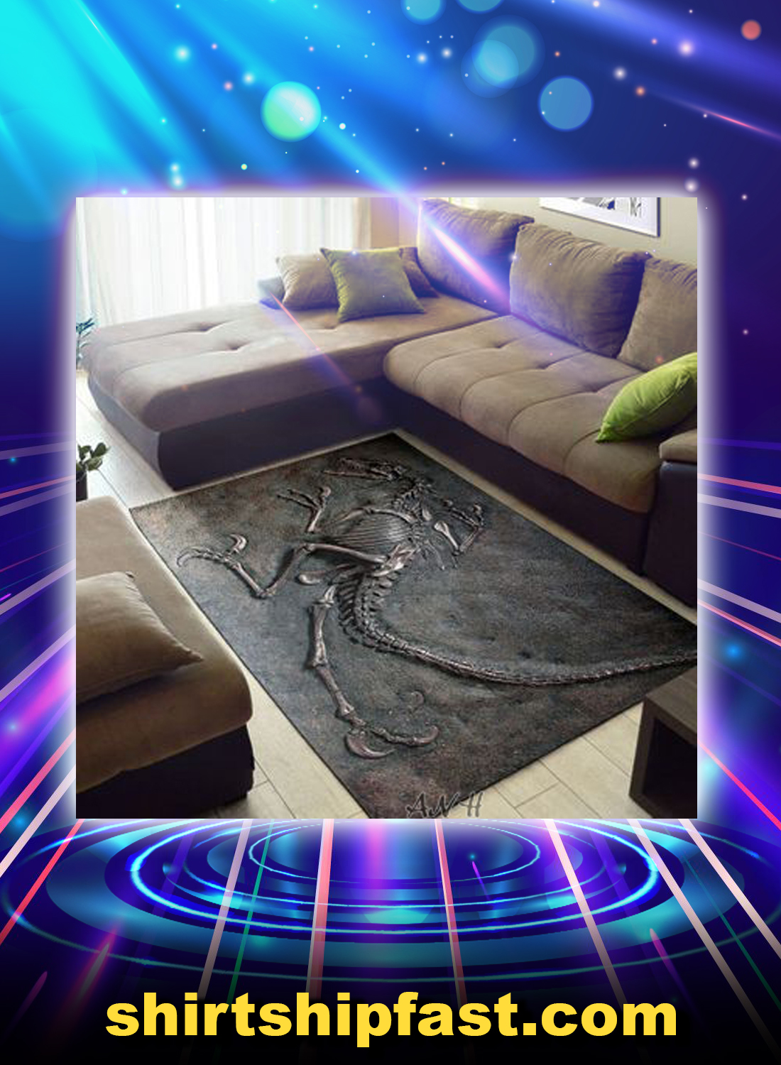 Dinosaur fossil rug - Picture 1