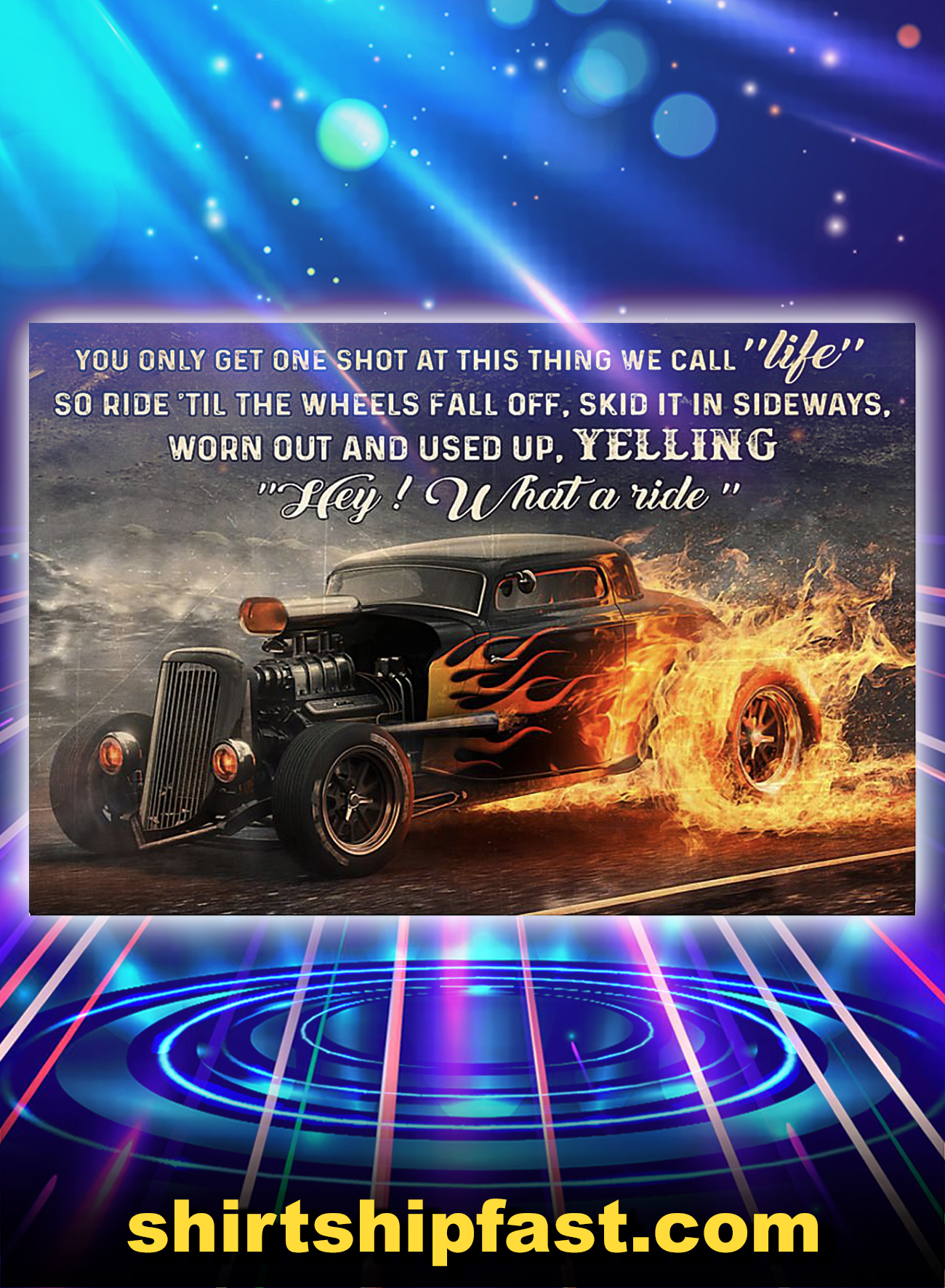 Hot rod what a ride poster - A4