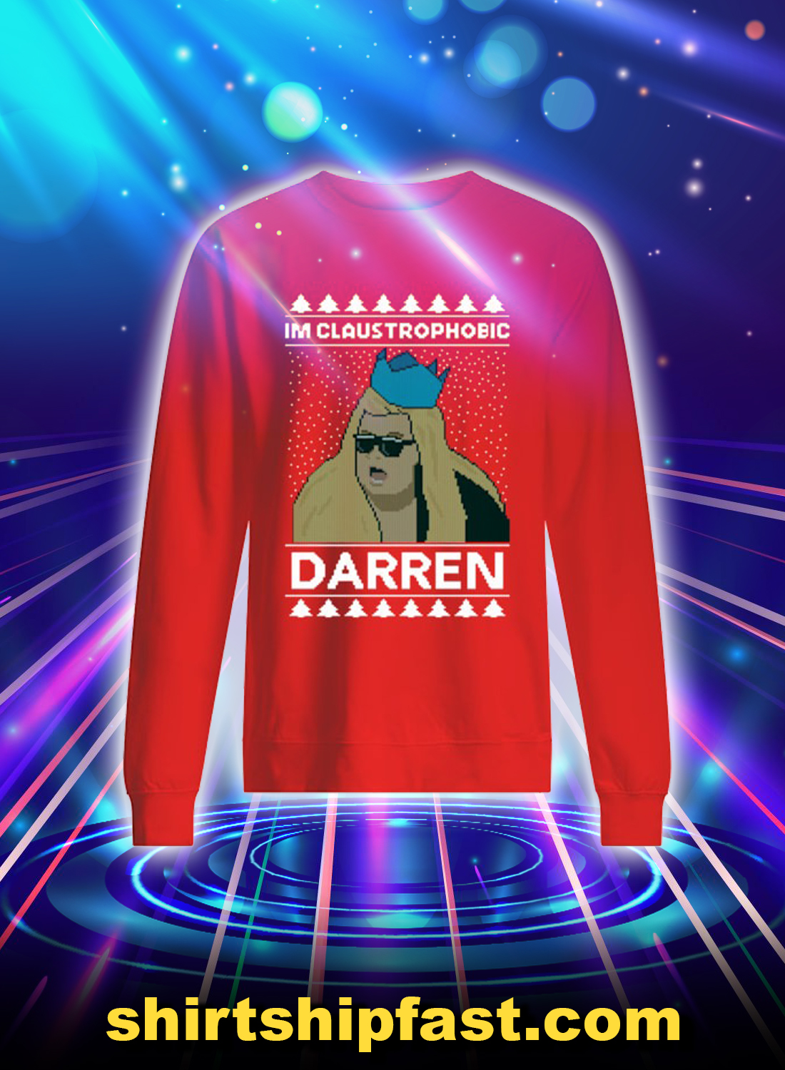I'm claustrophobic darren christmas sweatshirt and jumper - Red