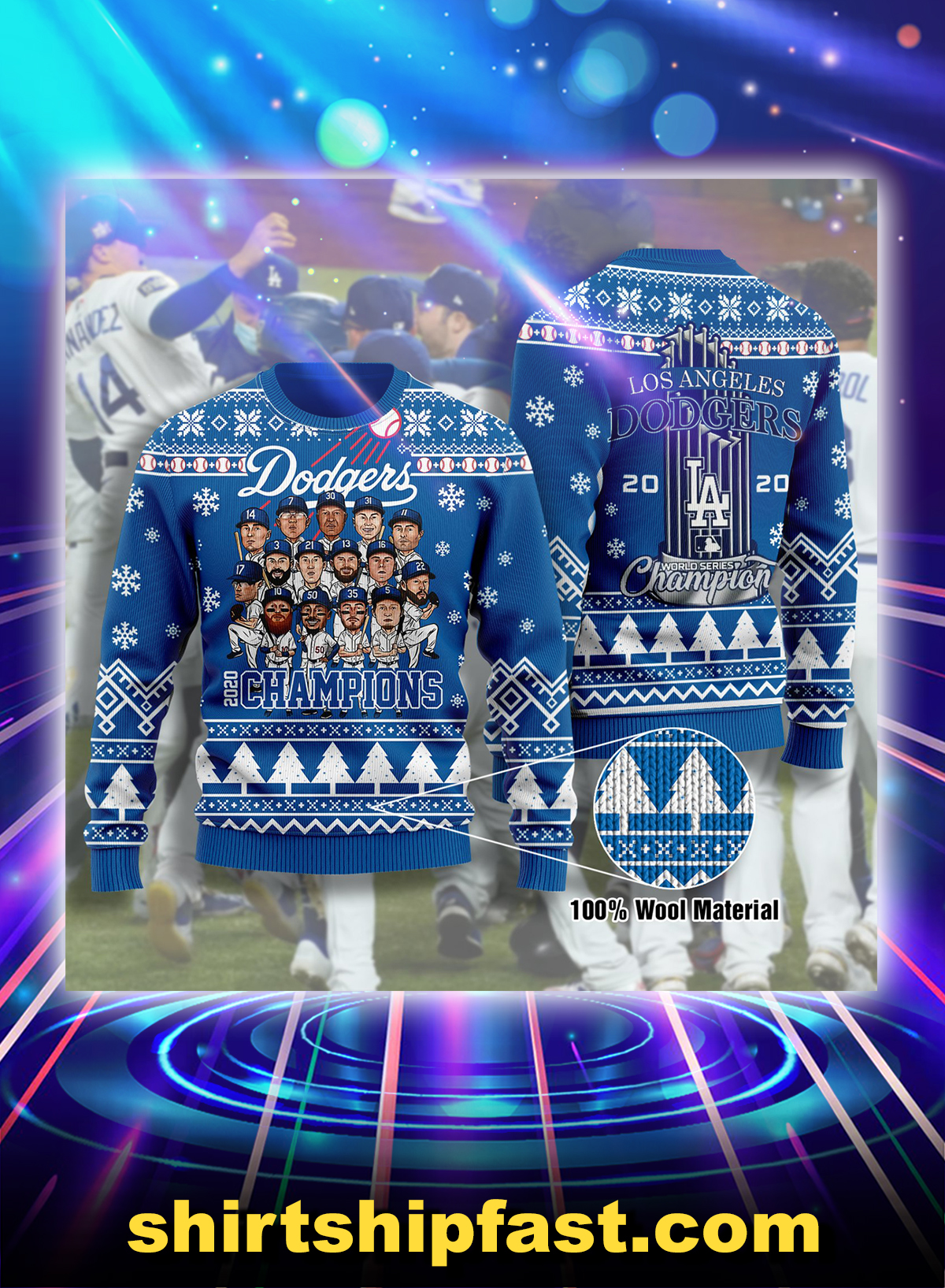 LA dodgers 2020 champions ugly christmas sweatshirt - Picture 1
