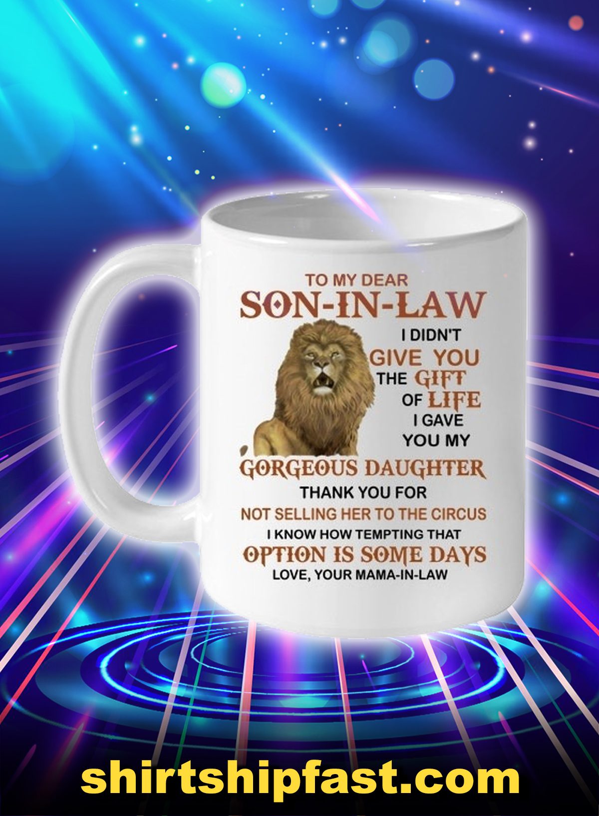 Lion to my dear son-in-law love your mama-in-law mug - Picture 1