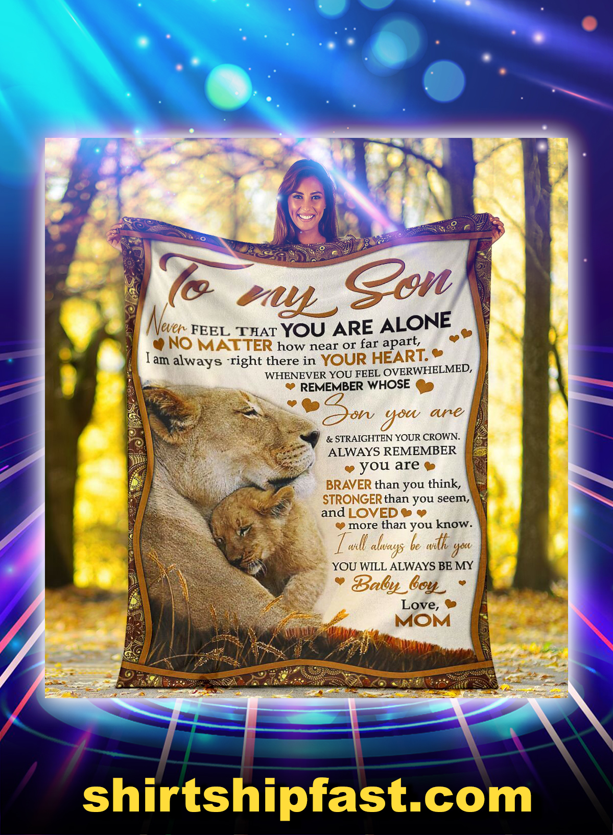Lion to my son never feel that you are alone blanket - Picture 1
