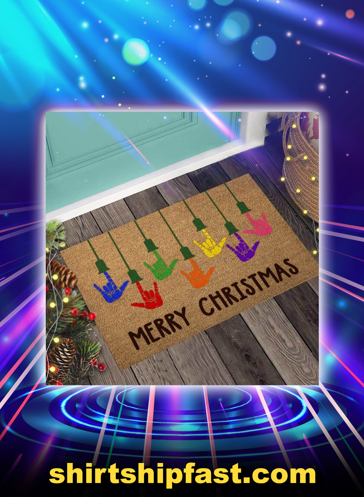 Merry christmas american sign language doormat - Picture 1