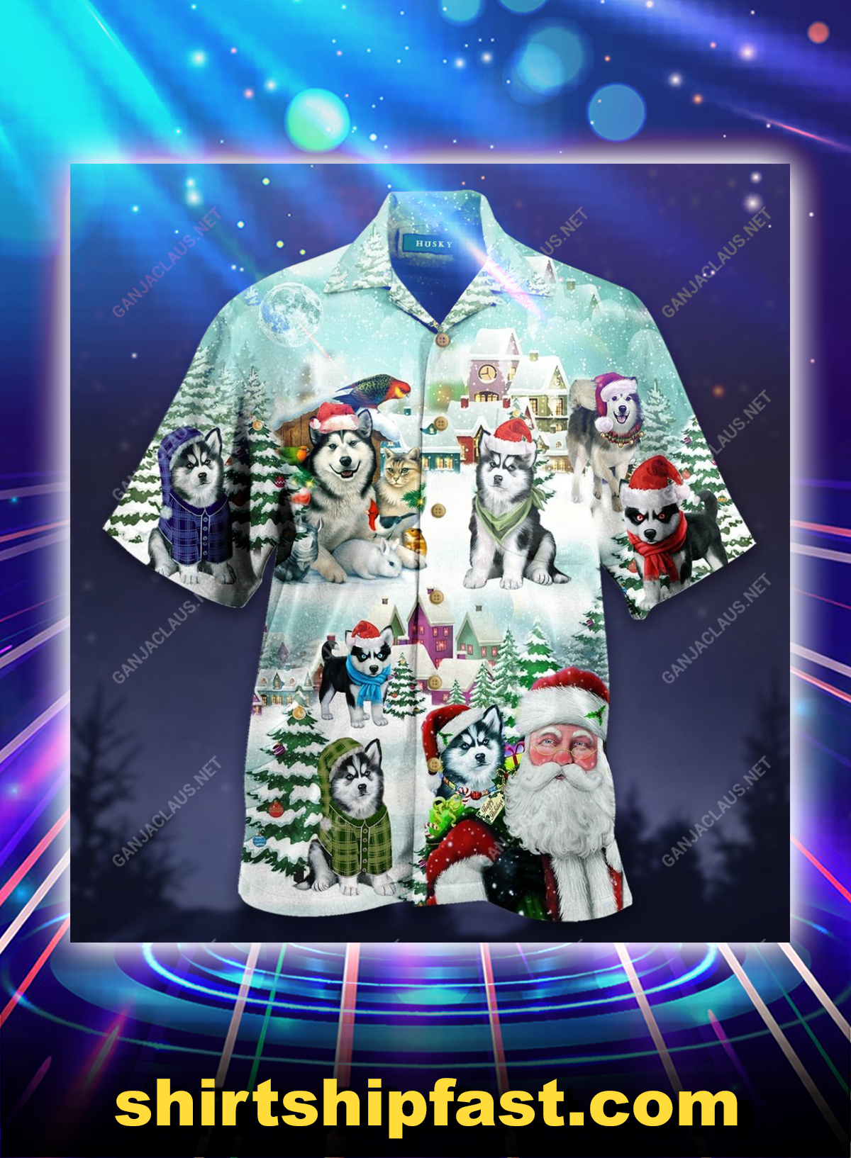 Merry husky christmas unisex hawaiian shirt - Picture 1
