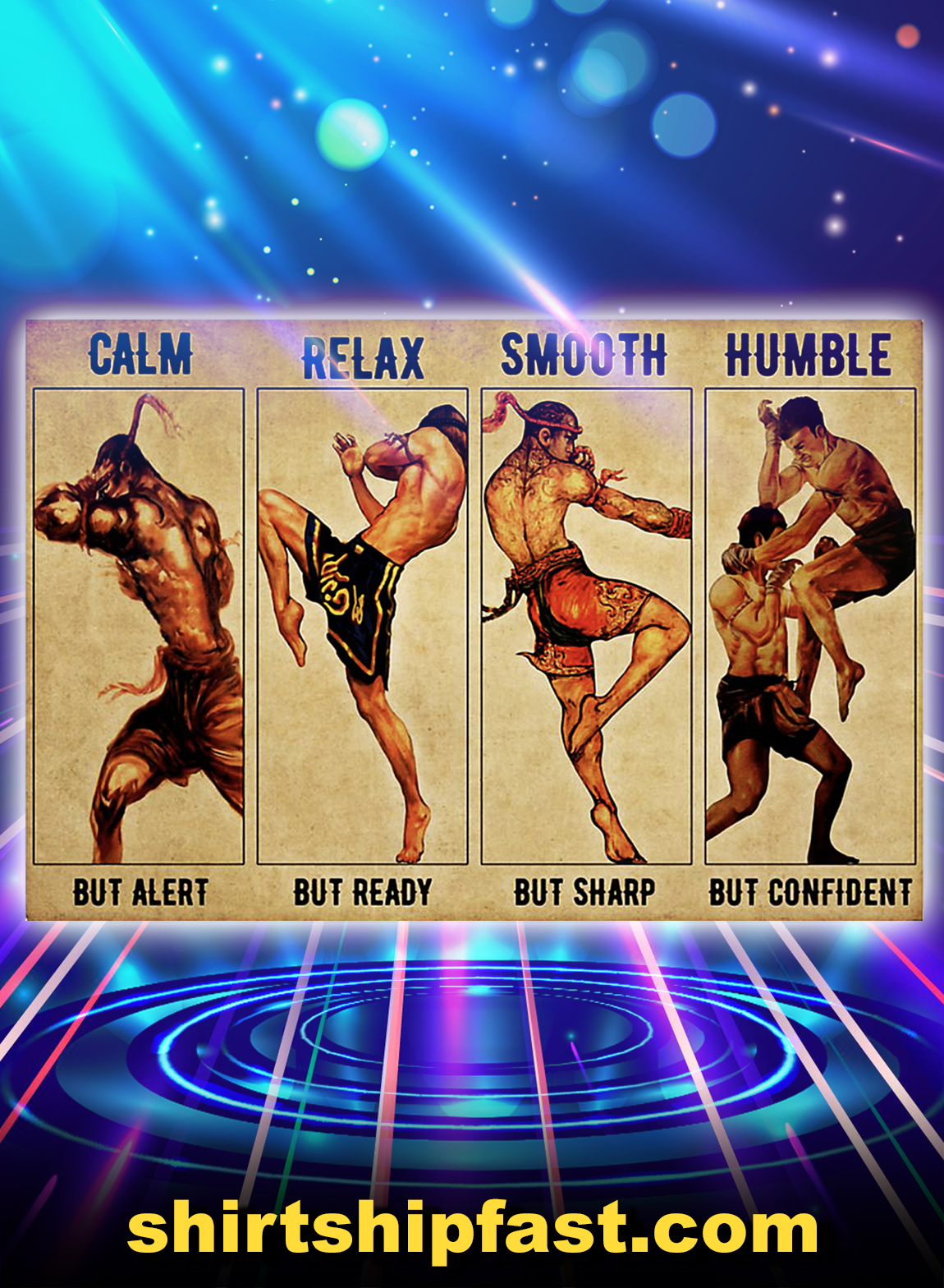 Muay thai calm relax smooth humble poster - A3