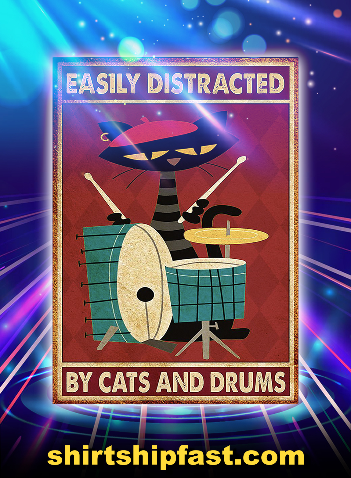 Music Cat Drum Easily Distracted Poster - A2