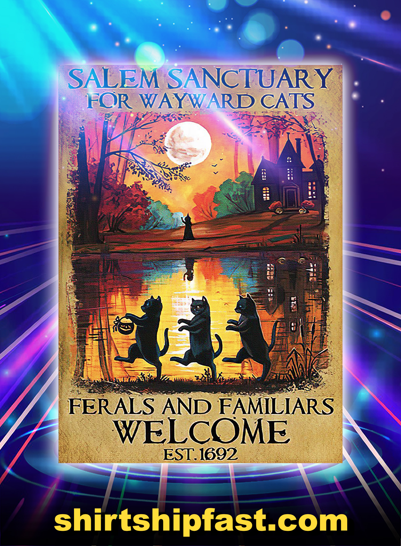 Poster Black cat salem sanctuary for wayward cats ferals and familiars welcome est 1962 - A2