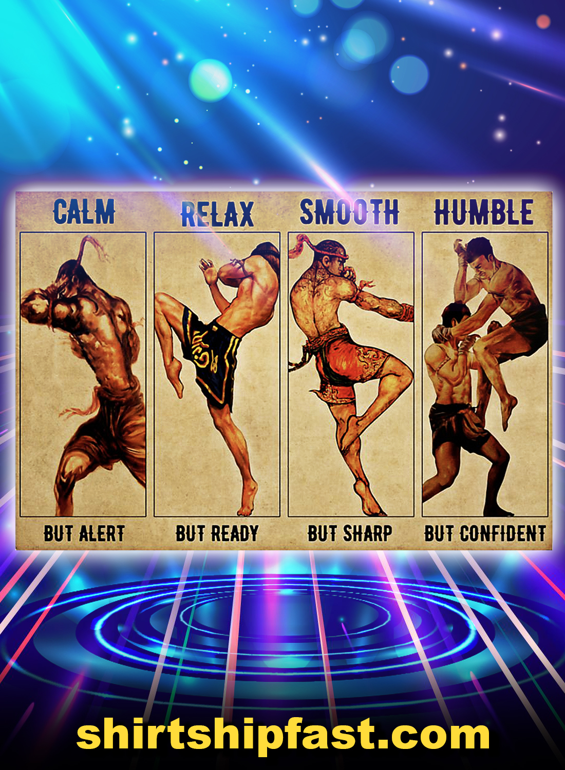 Poster Muay Thai Calm relax smooth humble - A4