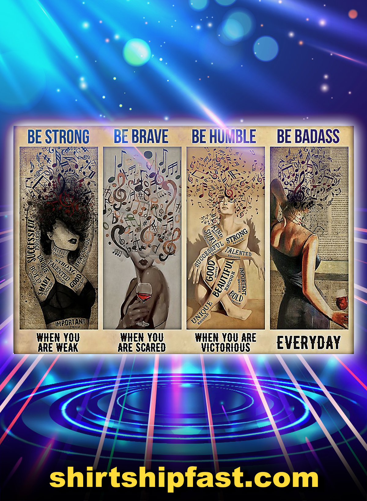 Poster music girl be strong be brave be humble be badass - A4