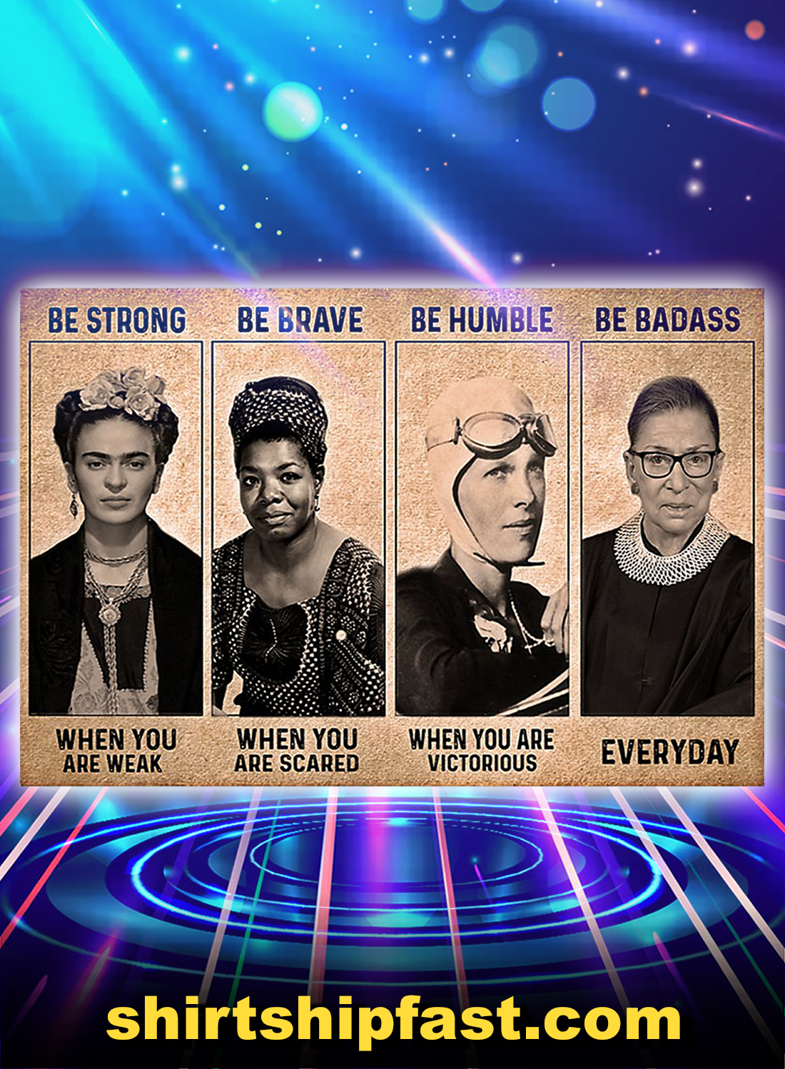 RBG Frida Kahlo feminist be strong be brave be humble be badass poster - A4