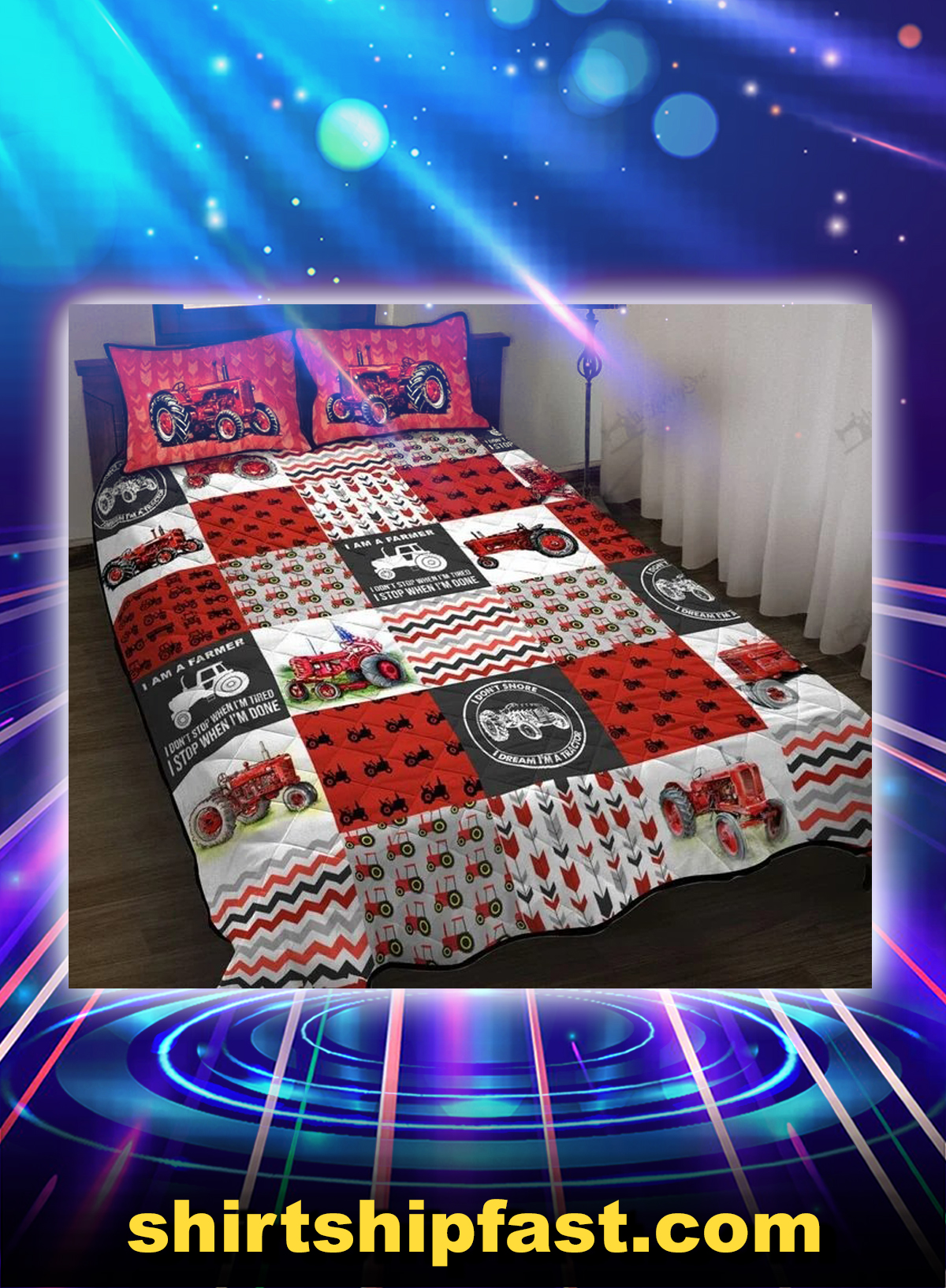 Red tractor bed set - Picture 1