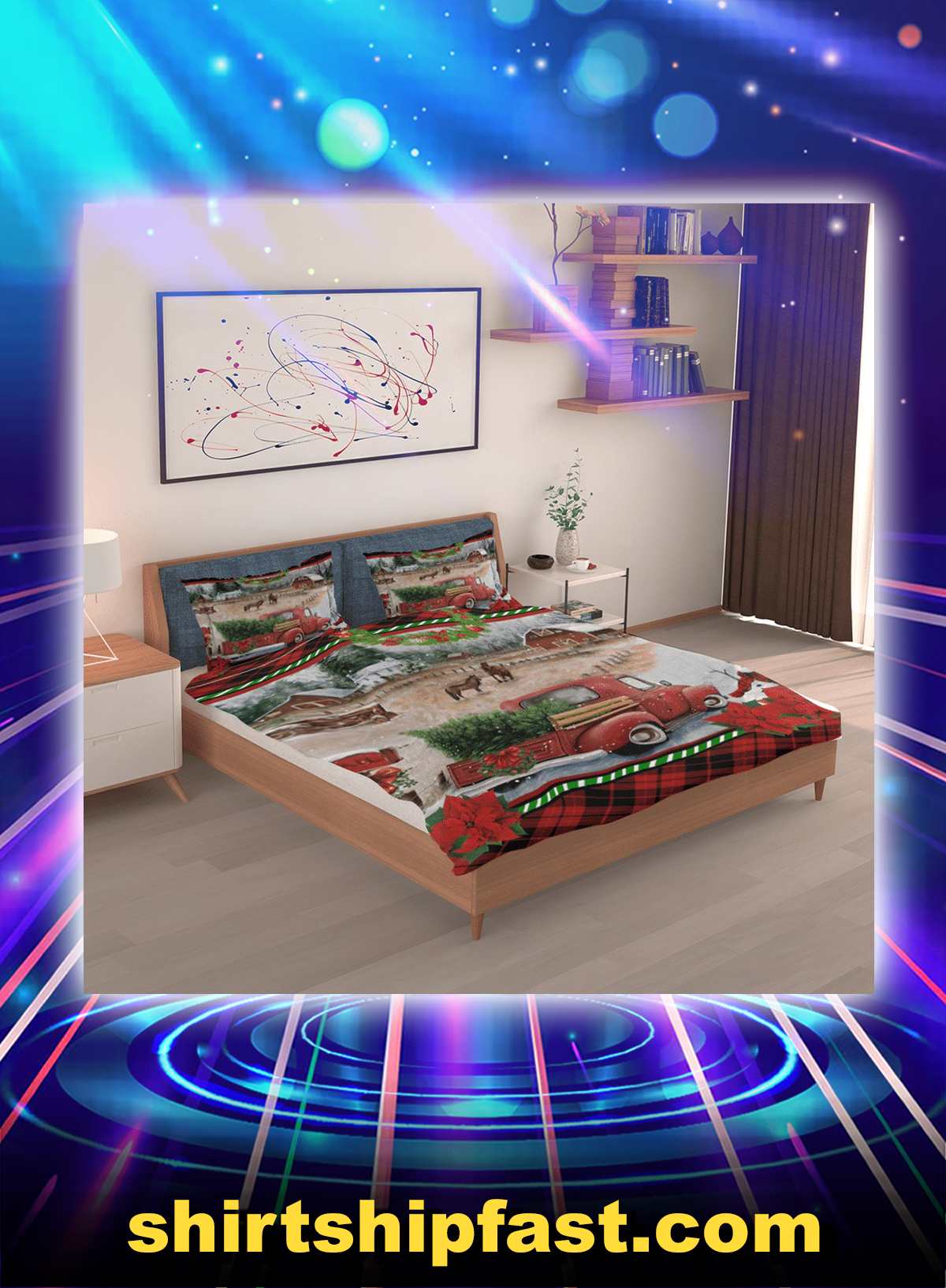 Red truck christmas bedding set - Picture 1