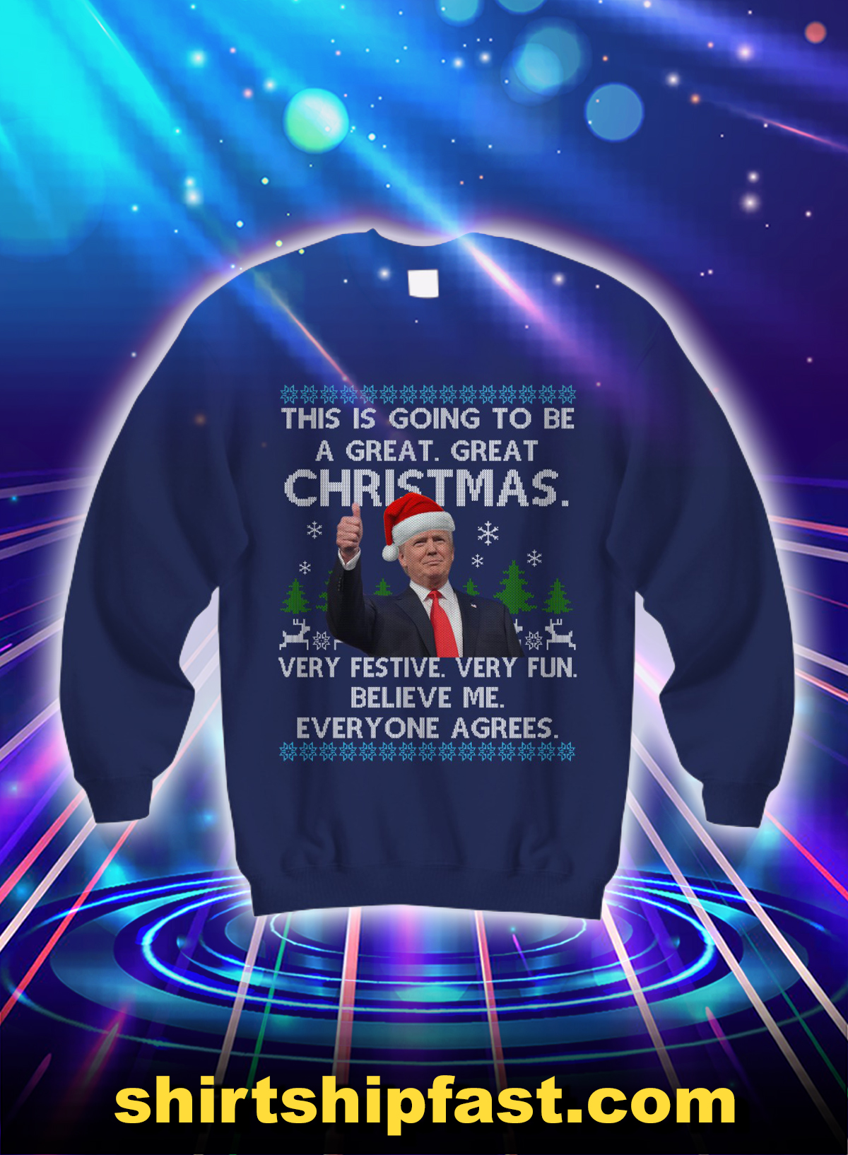 Trump this is going to be a great great christmas sweatshirt - Navy