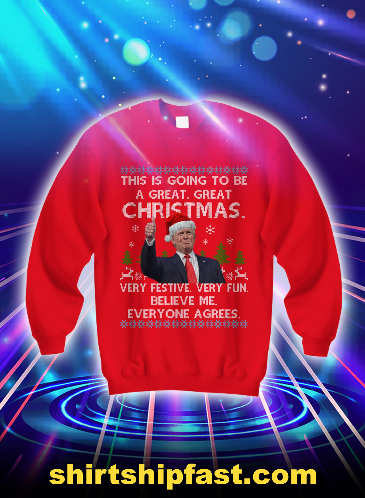 Trump this is going to be a great great christmas sweatshirt - Red