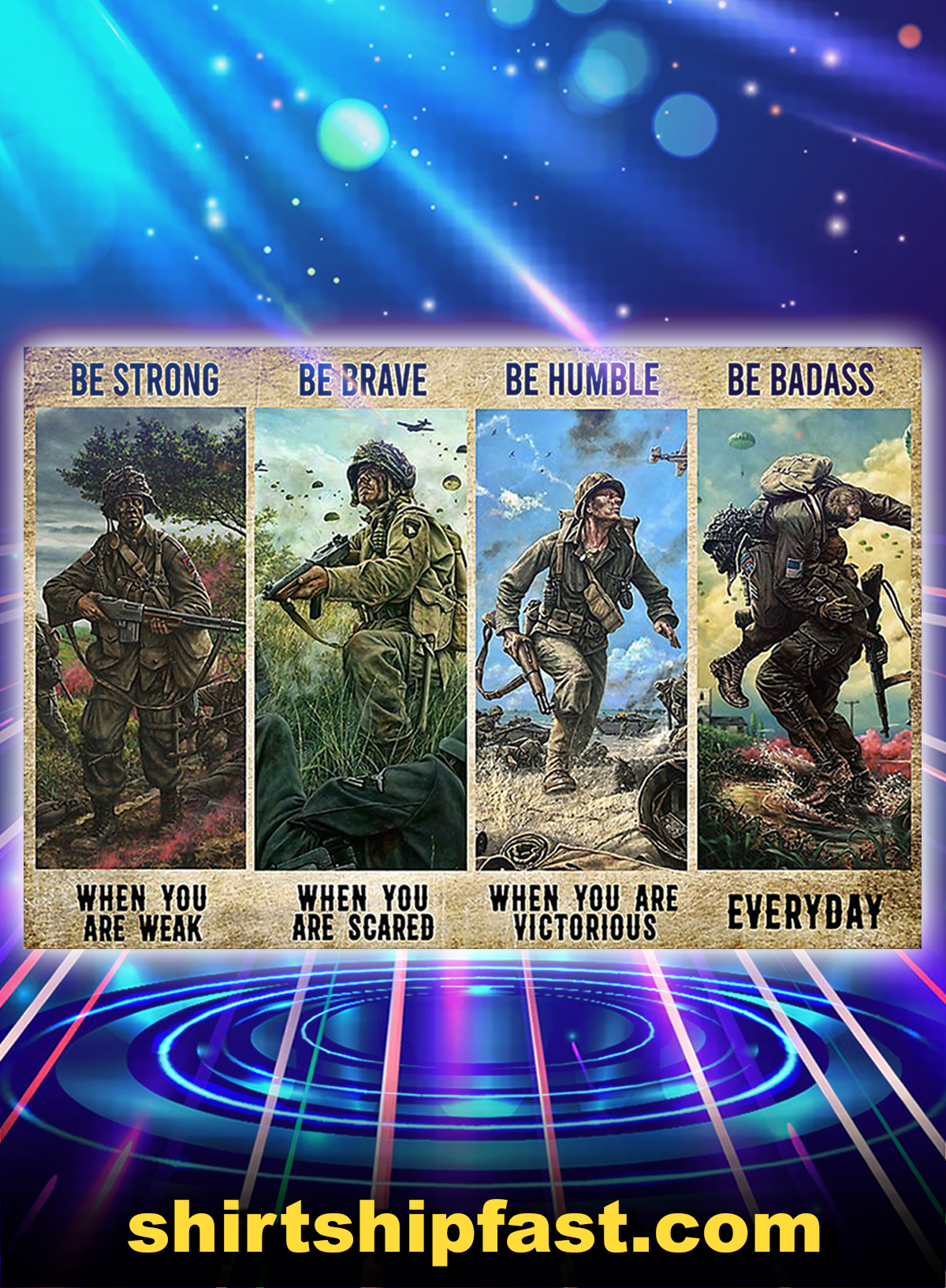 Veteran be strong be brave be humble be badass poster - A4