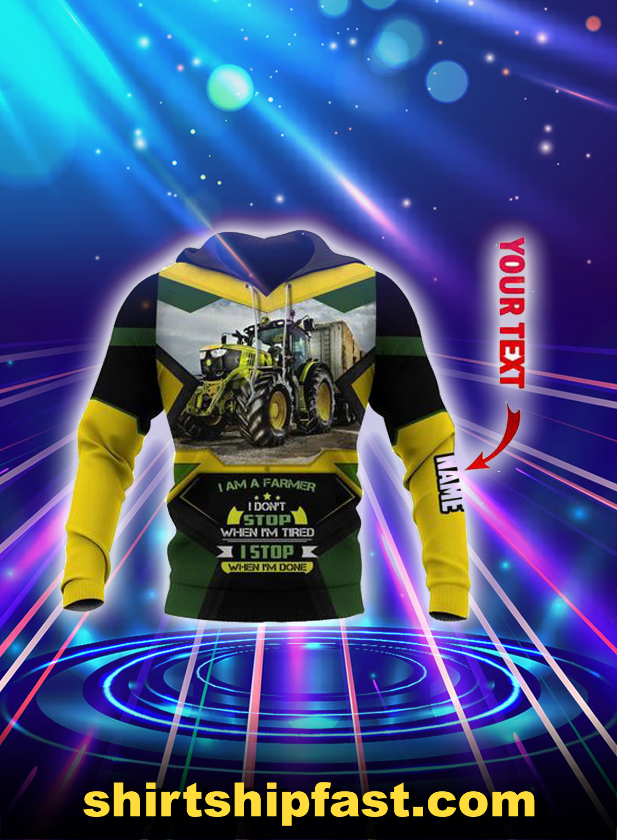 Agrimotor i'm a farmer personalized custom name 3d hoodie - Yellow
