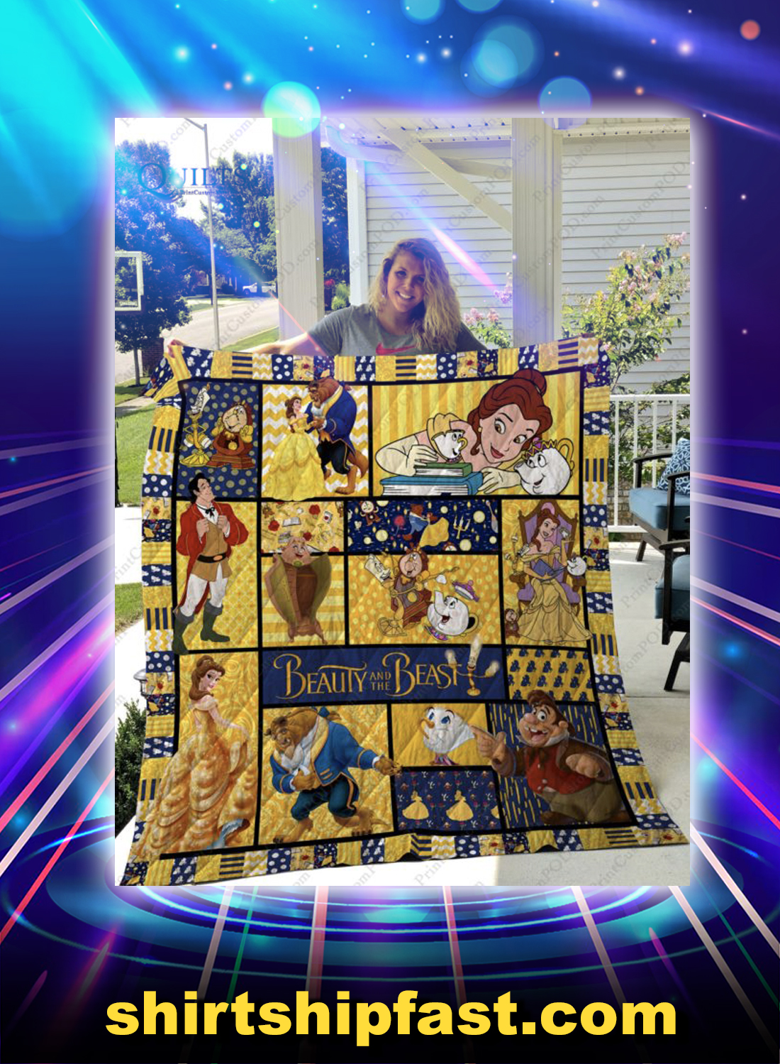 Beauty and the beast 3d quilt blanket