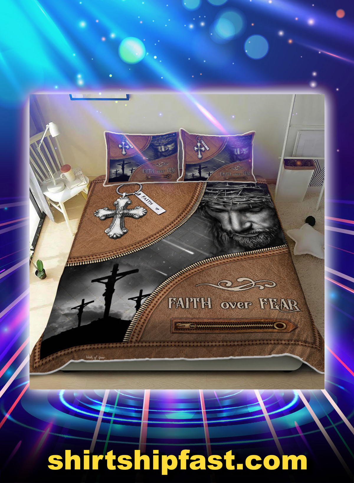 Bed set Jesus Christian faith over fear - Picture 1