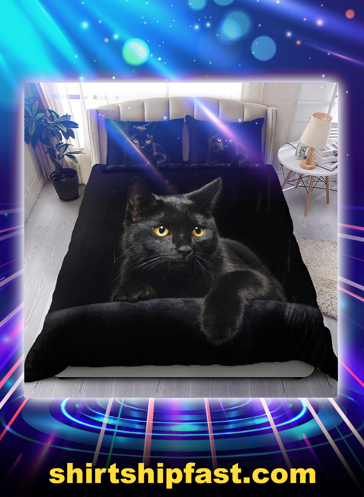 Black cat on the night bedding set - Picture 1