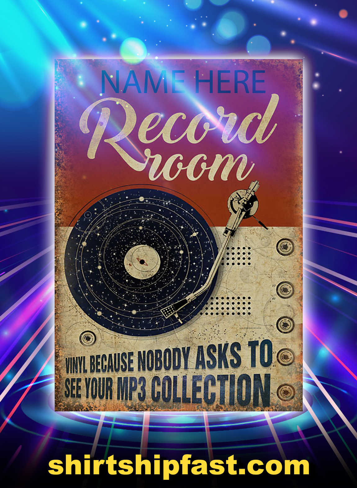 Custom name Record room vinyl because nobody asks to see your mp3 collection poster - A3